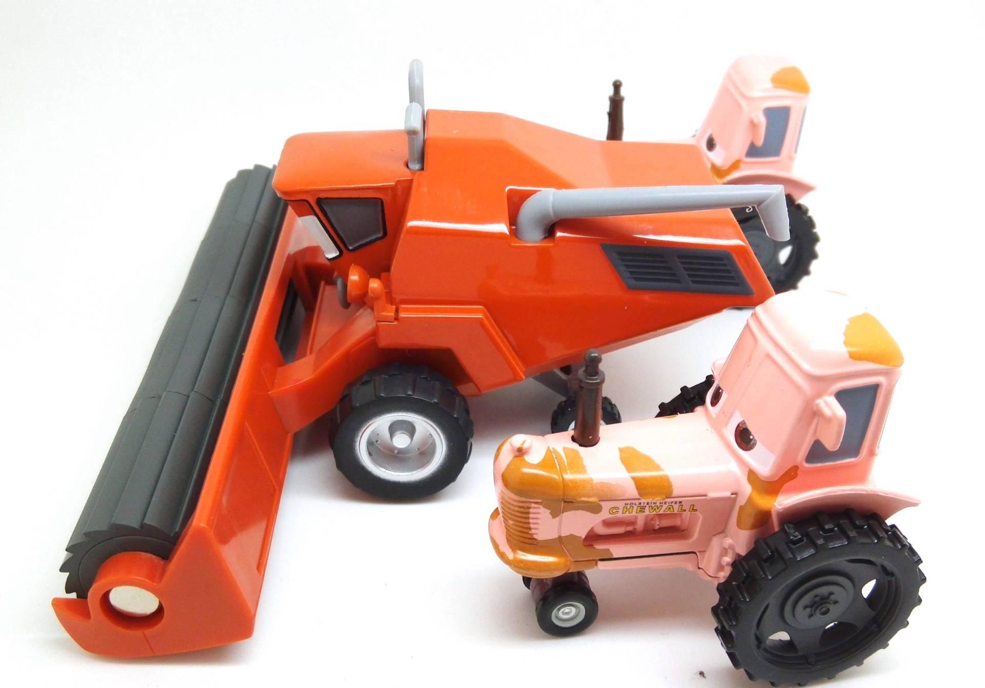 Disney Cars Diecast: 1:55 Disney Pixar Cars Diecast-Frank With 2 TIPPIN TRACTOR