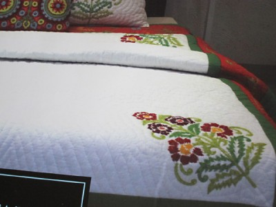 Cynthia Rowley Full Queen Quilt Luxury Bedding Embroidered