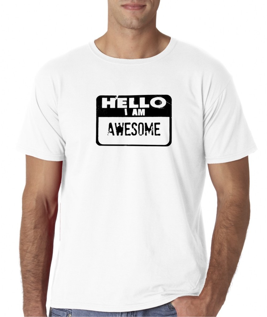 Mens Hello I Am Awesome Funny T-Shirt Tee