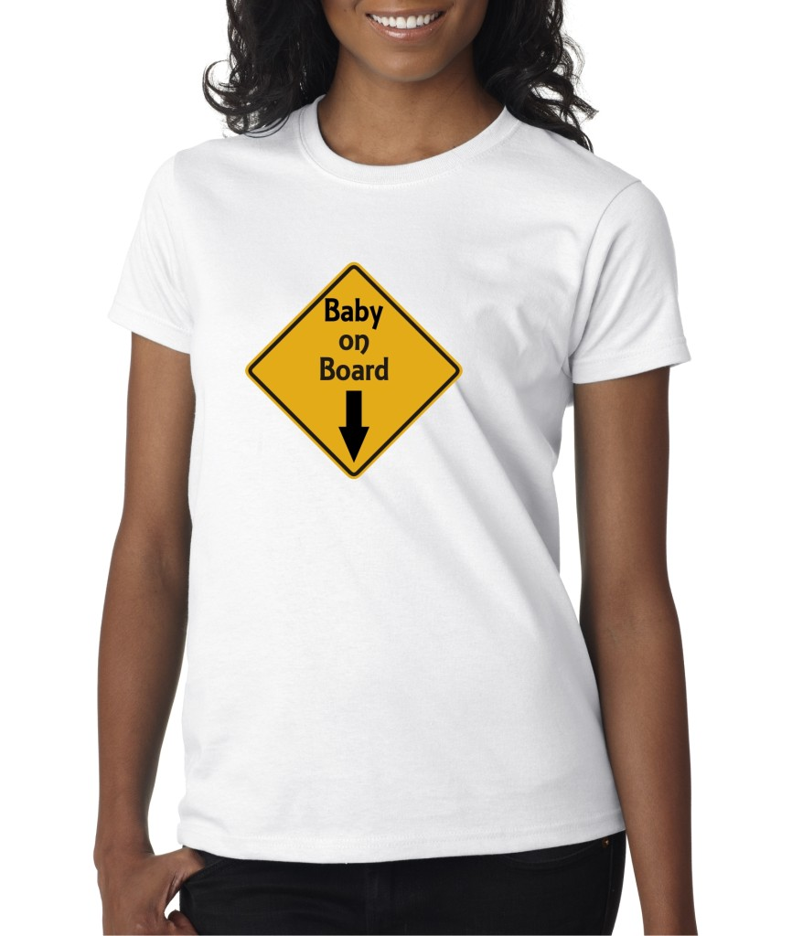 Womens Baby on Board Arrow Pregnant Mom Funny T-Shirt Tee ...