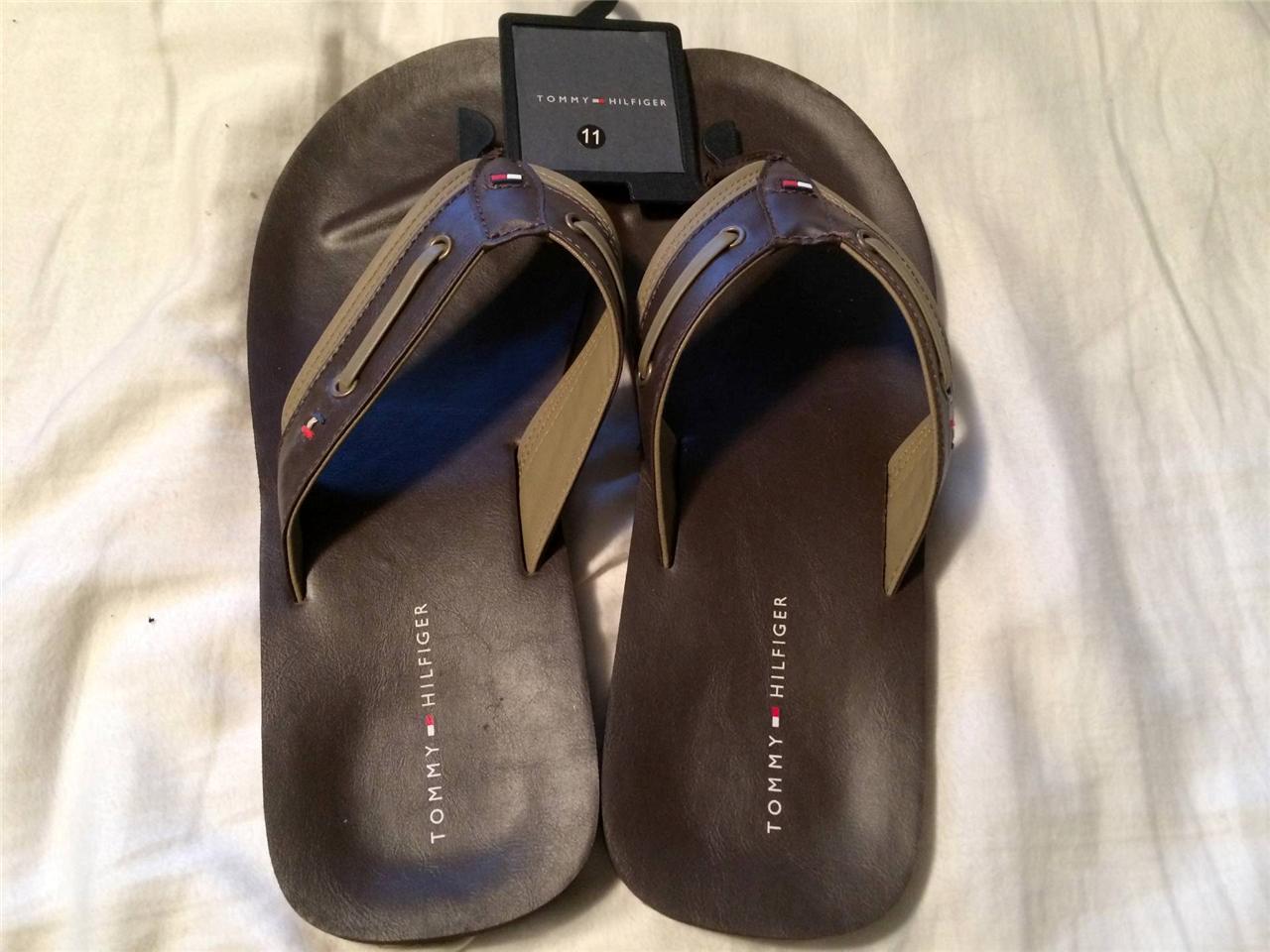 new men 39 s tommy hilfiger logo sandals flip flops brown. Black Bedroom Furniture Sets. Home Design Ideas
