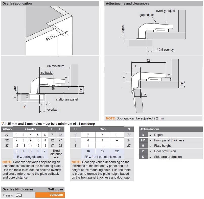 Blum Clip Top 79b9980 Blumotion 95 Overlay Blind Corner Hinges Adjusting  Kitchen Cabinet Hinges