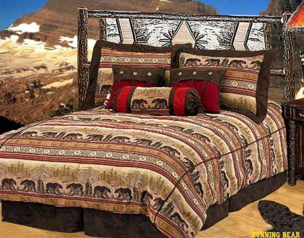*LOOK* Western Cabin Decor Running Bear Comforter Set