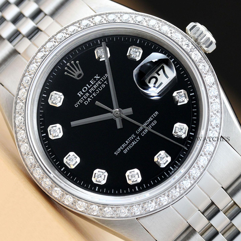 2479a5587cb4 Hombre Rolex Datejust 18k Oro Blanco Diamante   Reloj Acero ...