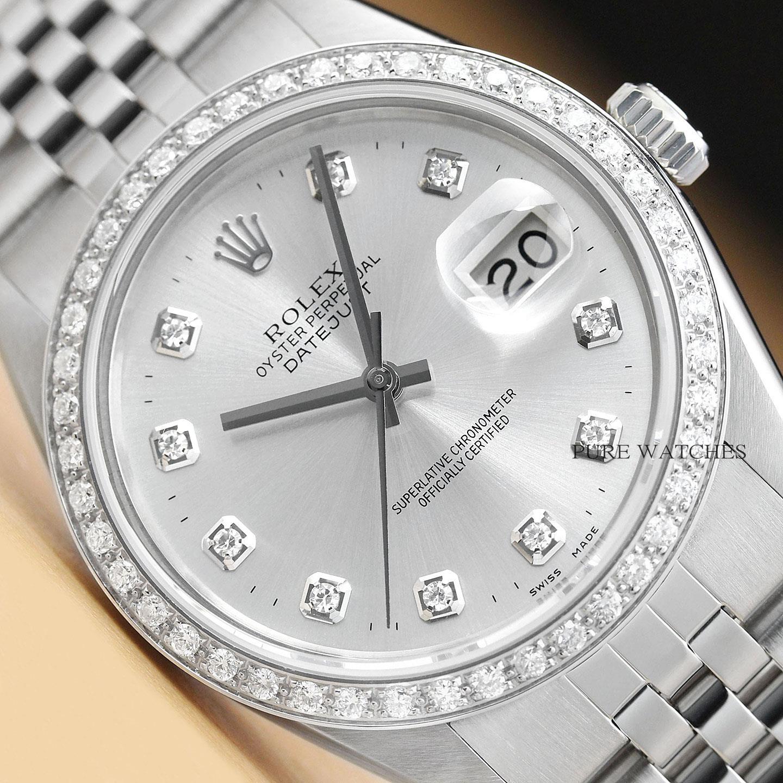 nuovo arrivo c8339 5d747 Dettagli su Da Uomo Rolex Datejust Diamante Argento Quadrante 18K Oro  Bianco Orologio in