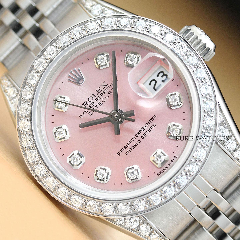 Para estrenar 1c2df 0aa49 Detalles de Rolex Mujer Datejust Dial Rosa Diamante Bisel & Asideros 18K  Oro & Reloj de