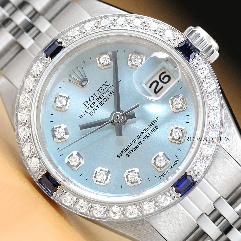 Details about LADIES ROLEX DATEJUST ICE BLUE DIAMOND SAPPHIRE 18K WHITE  GOLD \u0026 STEEL WATCH