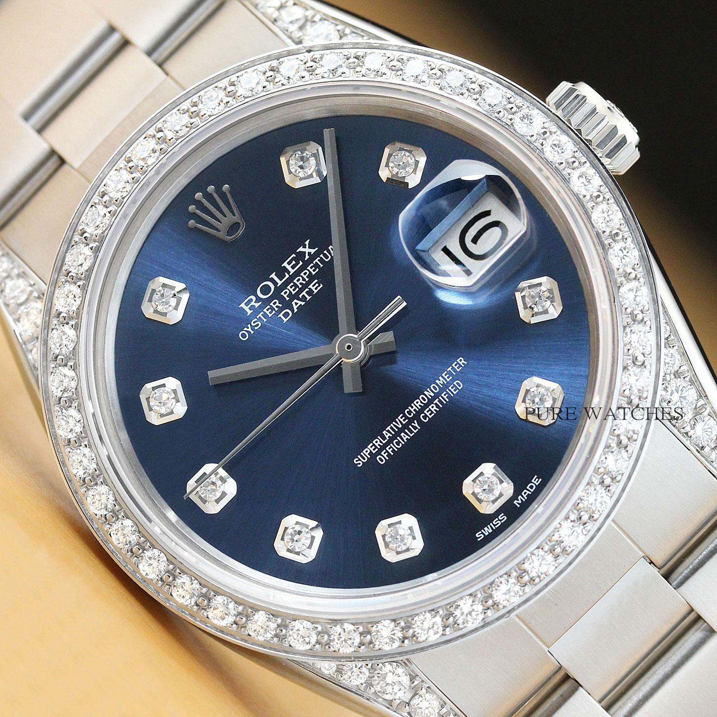 a25028c2fd64 Details about ROLEX UNISEX OYSTER PERPETUAL DATE 18K WHITE GOLD DIAMOND  BEZEL+ LUGS 34MM WATCH