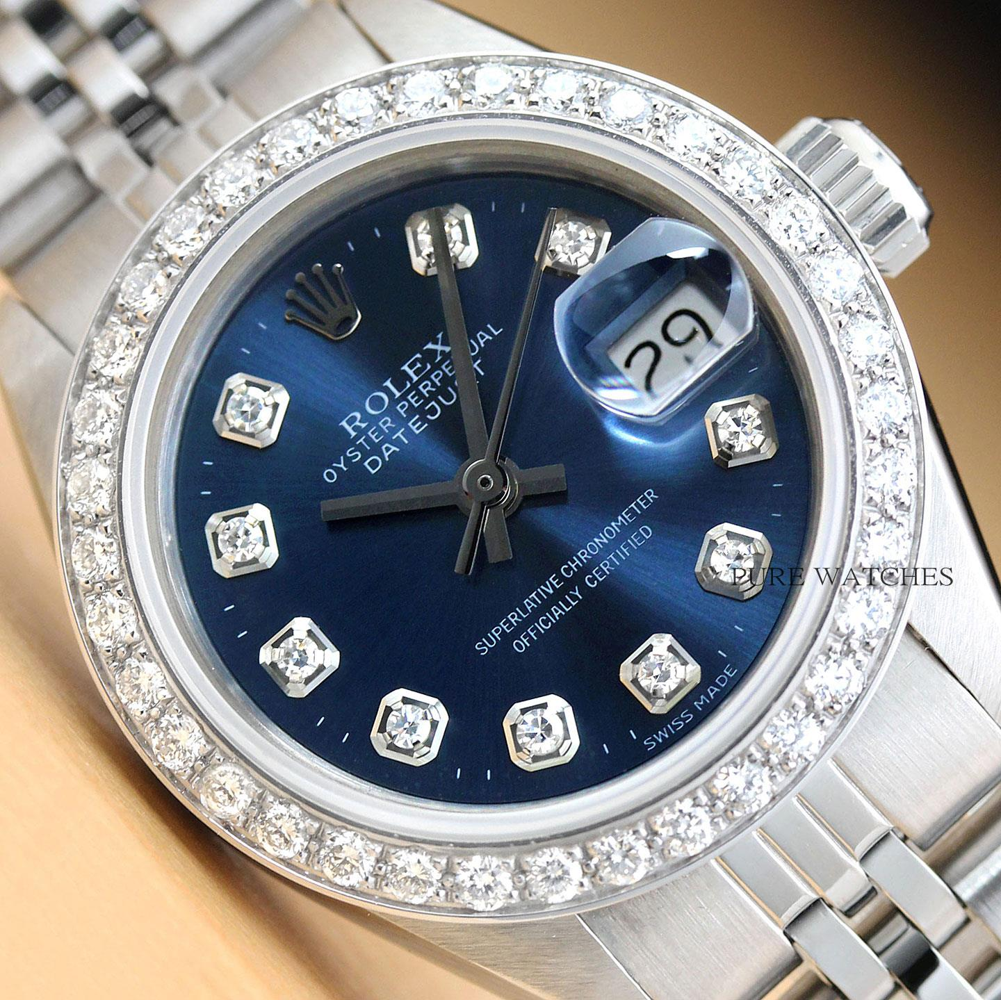 Details about LADIES ROLEX BLUE DIAMOND DIAL DATEJUST 18K WHITE GOLD \u0026  STAINLESS STEEL WATCH