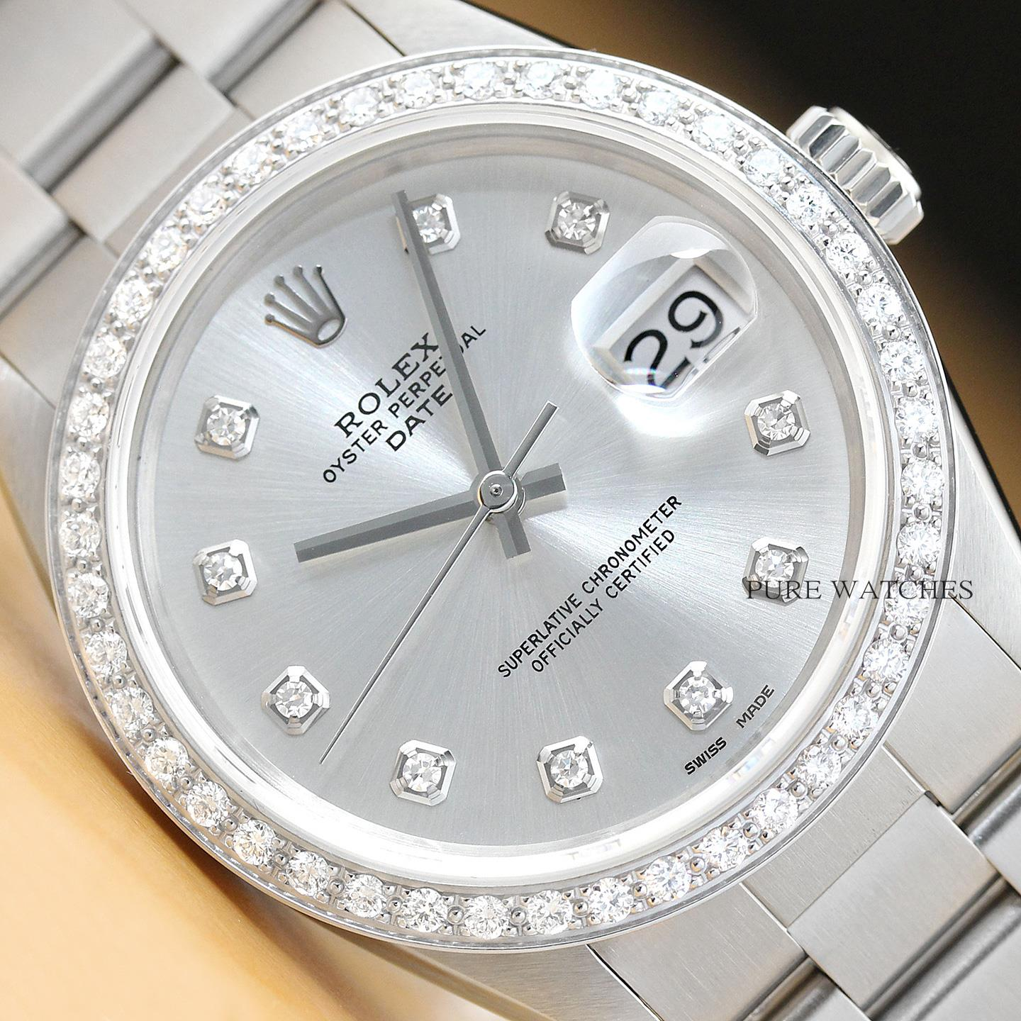 c31d490bd3e7 Details about ROLEX MENS 34MM OYSTER PERPETUAL DATE 18K WHITE GOLD DIAMOND  STEEL WATCH