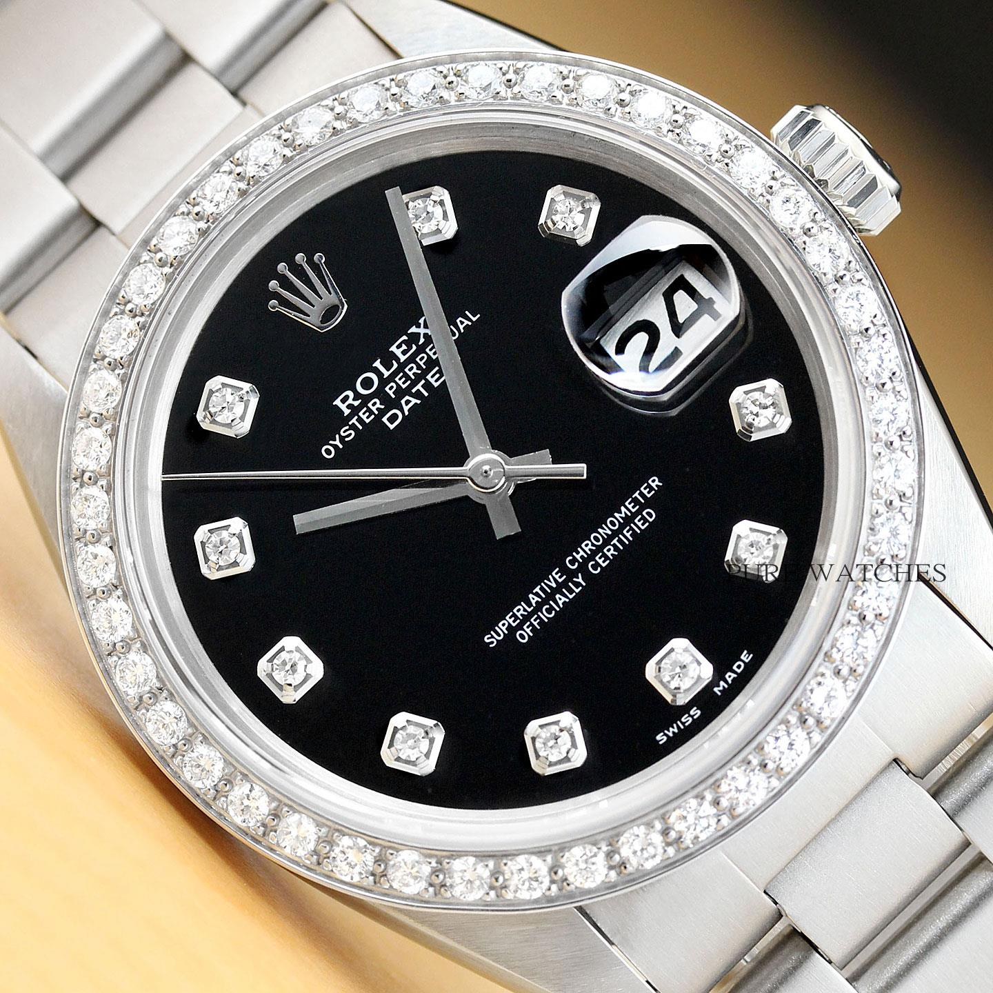 5e3aadb7d42c Details about ROLEX UNISEX 34MM OYSTER PERPETUAL DATE 18K WHITE GOLD  DIAMOND STEEL WATCH