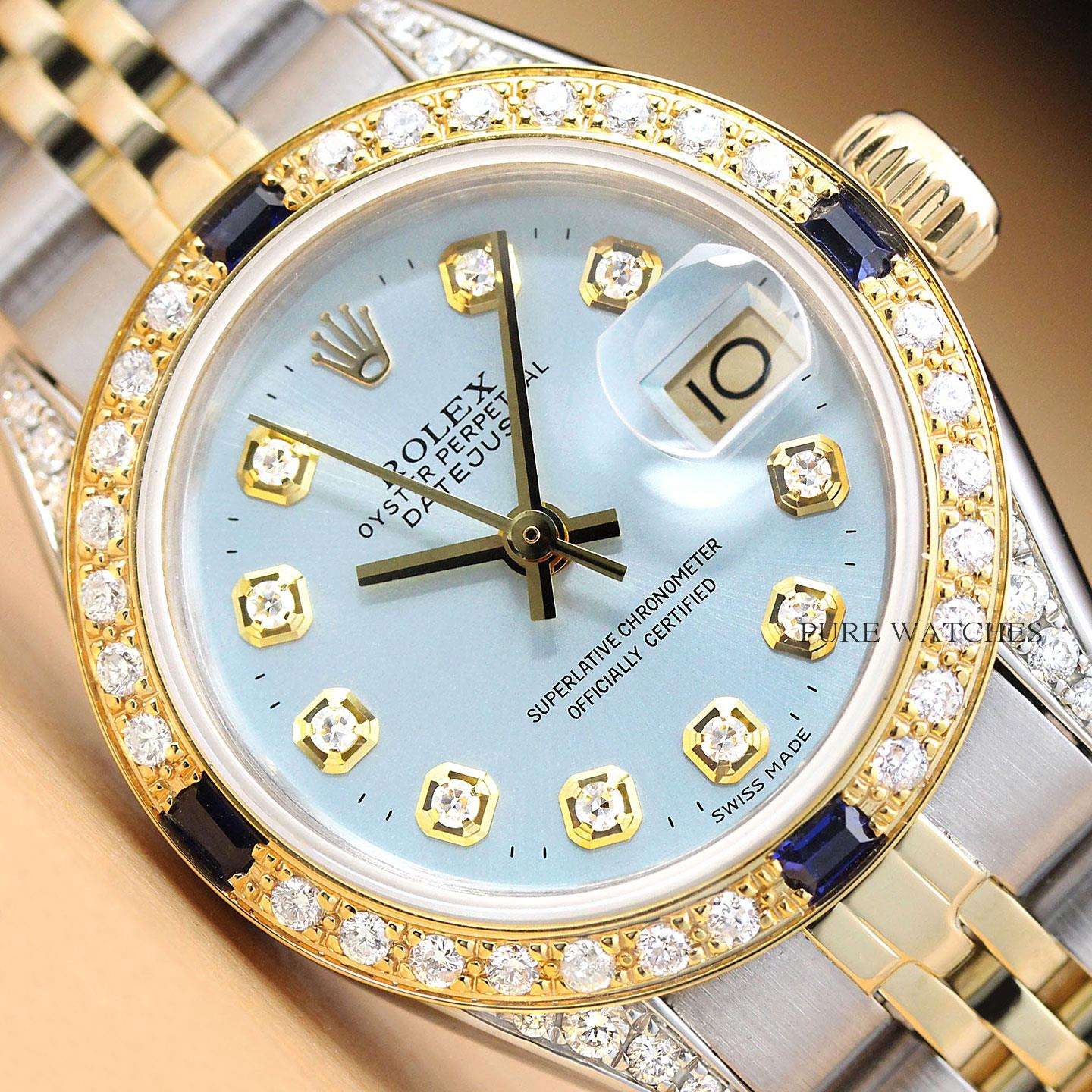 About Ladies Gold Steel Rolex Yellow Blue Sapphire 18k Details Watch Diamond Ice Datejust 435ALqjR