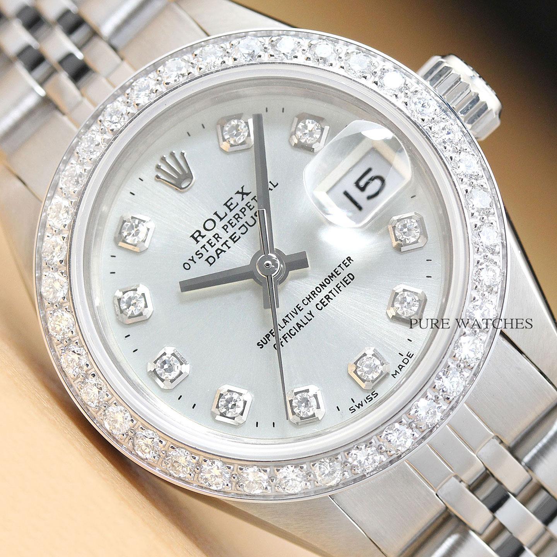Details about LADIES ROLEX DATEJUST 18K WHITE GOLD \u0026 STAINLESS STEEL SILVER  DIAMOND WATCH