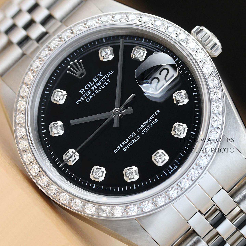 $3590.00 - MENS ROLEX BLACK DIAMOND DIAL & BEZEL DATEJUST 18K WHITE GOLD/SS WATCH