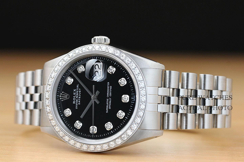 MENS ROLEX BLACK DIAMOND DIAL & BEZEL DATEJUST 18K WHITE GOLD/SS WATCH