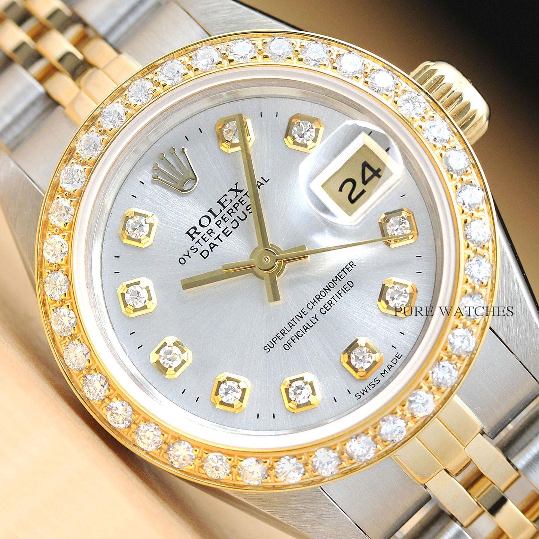 selezione migliore 80cb3 f8688 Dettagli su Rolex Donna 2 Tono Datejust 18K Oro Giallo & Acciaio Inox  Quickset Orologio