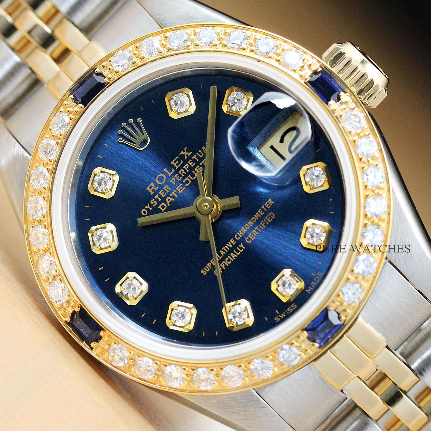 Rolex Ladies Datejust 18k Yellow Gold Diamond Sapphire Amp Steel Blue Dial Watch 717449281050 Ebay