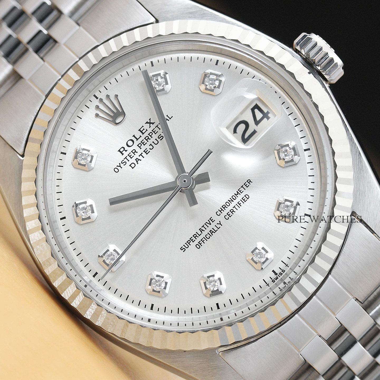 comprare popolare 63b02 cacea Dettagli su Rolex Datejust Oro Bianco 18kt e Acciaio Quadrante Argento  Diamanti 1601 Da Uomo