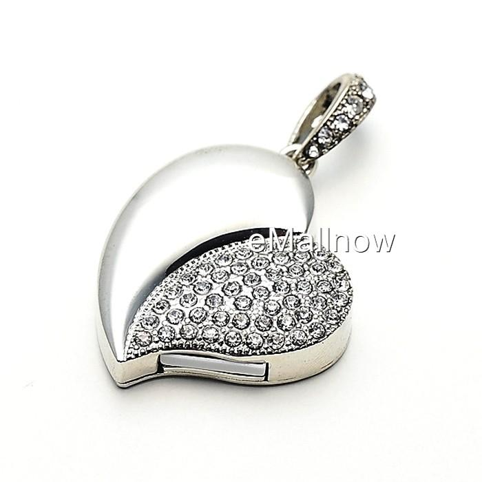 Crystal Jewelry USB Flash Memory Drive Necklace Pendant 8GB