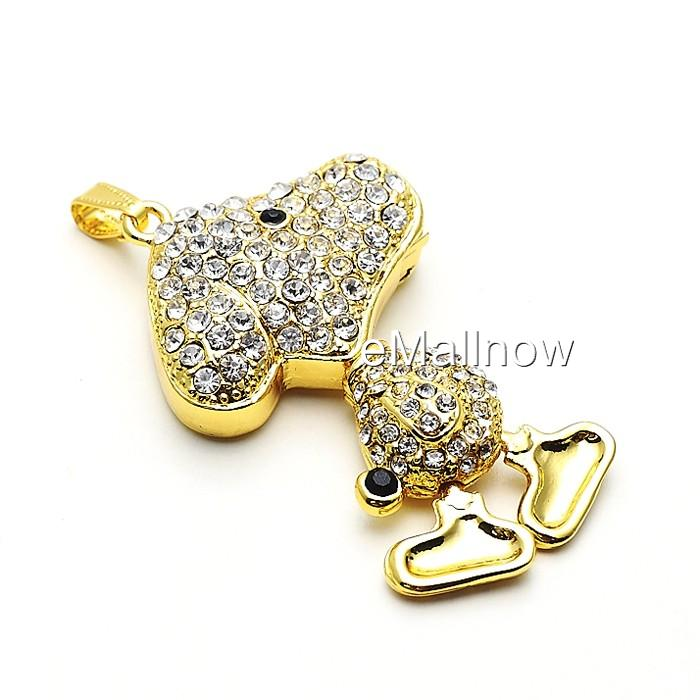 Golden Crystal Cute Dog Jewelry USB Flash Memory Drive Necklace
