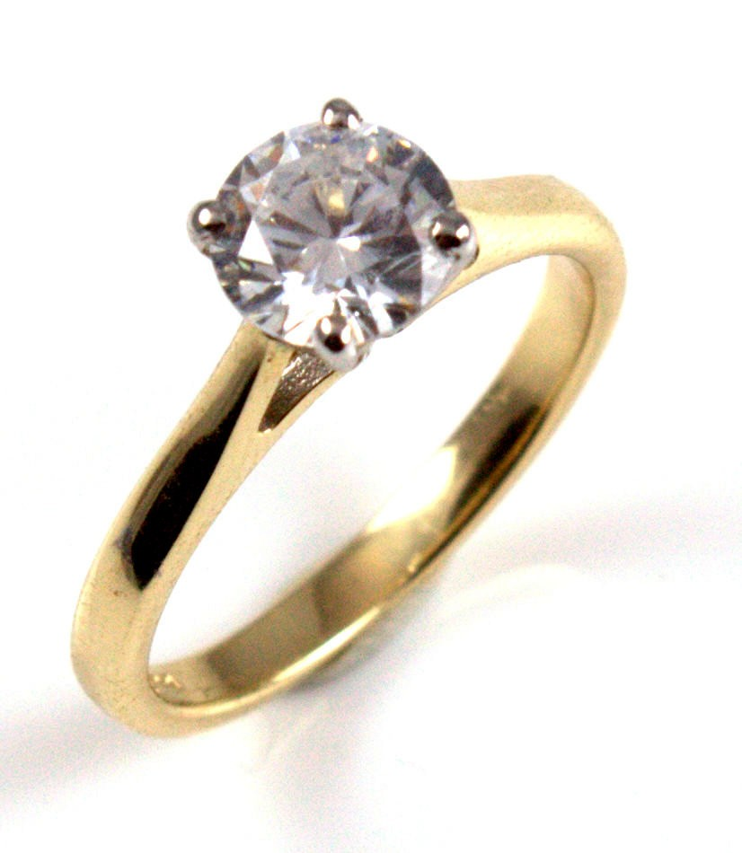 Diamond-Unique Solitaire 9ct Gold Ring 1ct Engagement Ring
