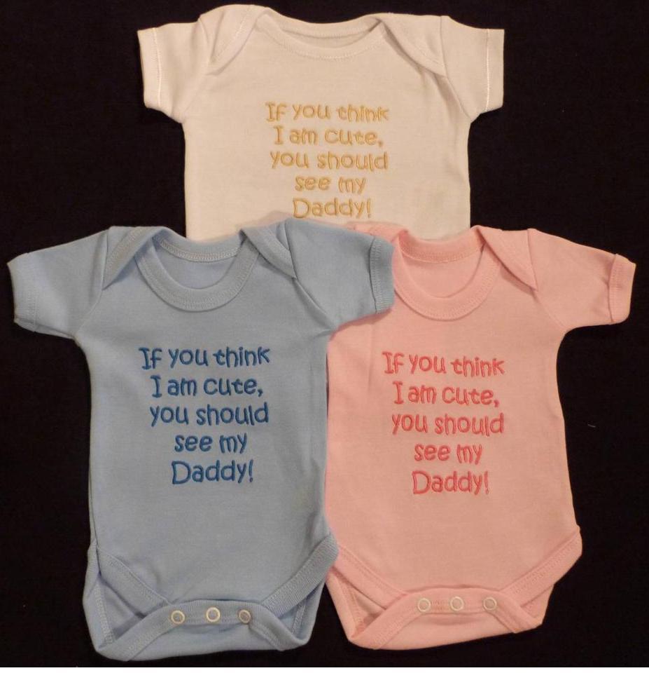 Think Cute Daddy Babies Vest Grow Boy Girl