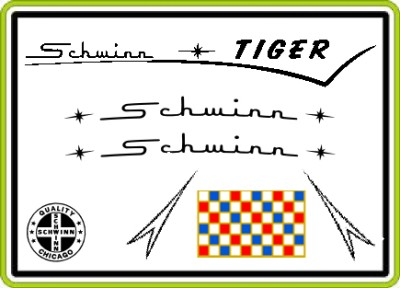 Schwinn TIGER 1960's BICYCLE Chain guard Decal Set NEW for ...