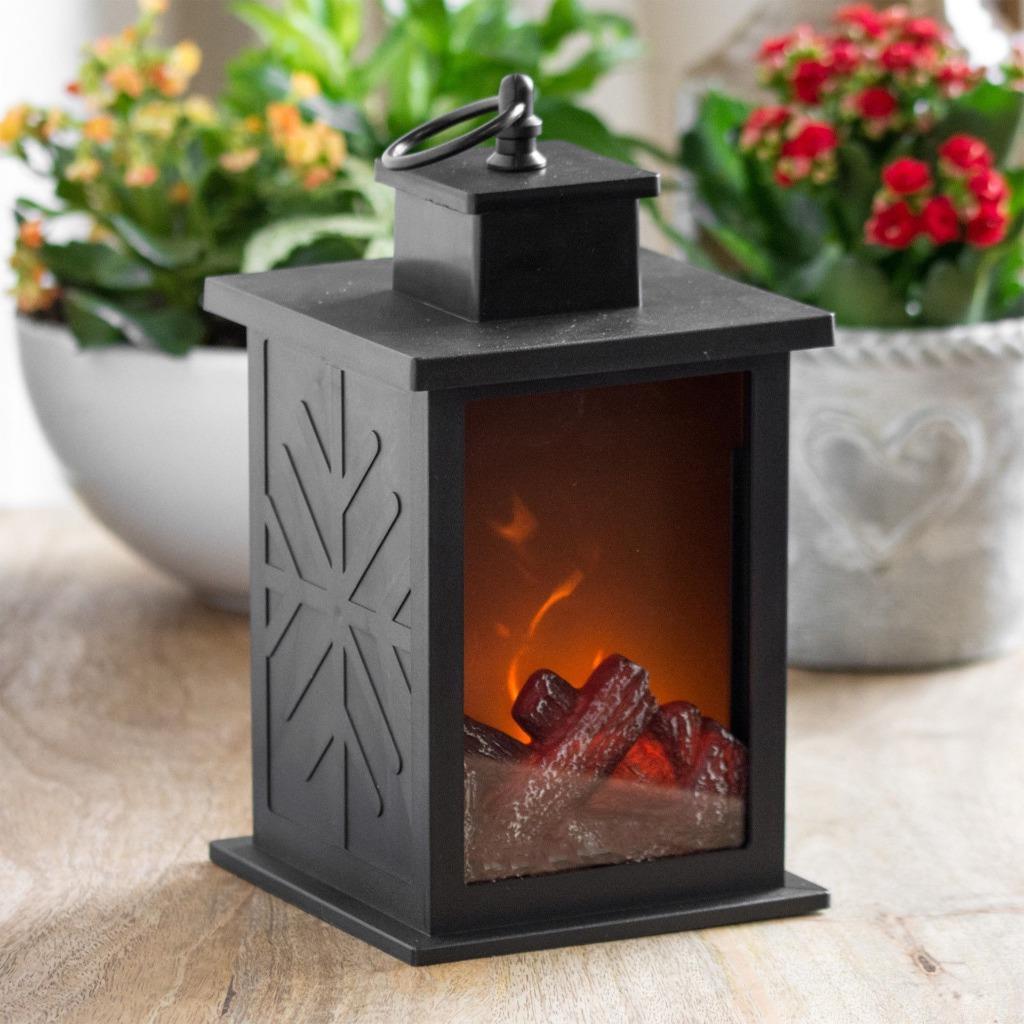 led licht kamin laterne bernstein flammen effekt weihnachten zu hause dekolampe. Black Bedroom Furniture Sets. Home Design Ideas