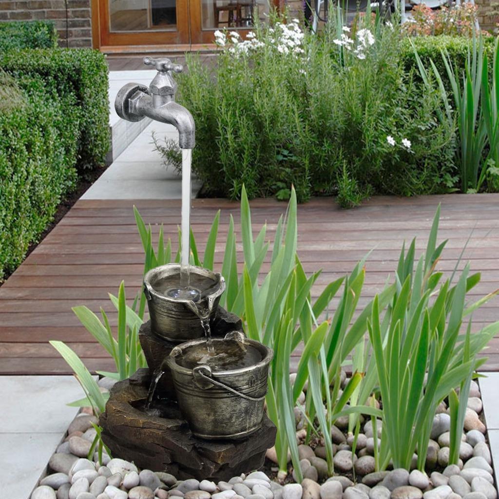 Garden Fountain Water Feature Led Lights Indoor Outdoor Polyresin