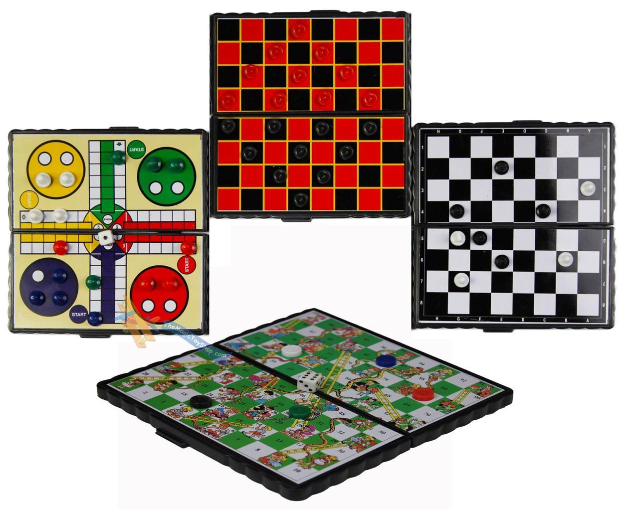 Ajedrez Damas Regalo de juegos de viaje Ludo Juegos De Mesa Magnético Serpientes /& Escalera