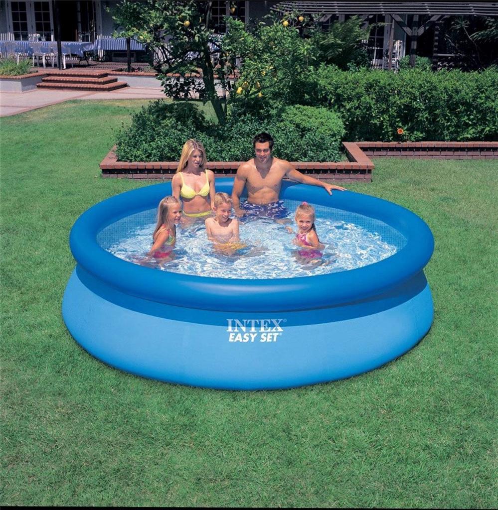 intex easy set inflatable swimming paddling pool 6 8 10 ft pool cover pump ebay. Black Bedroom Furniture Sets. Home Design Ideas