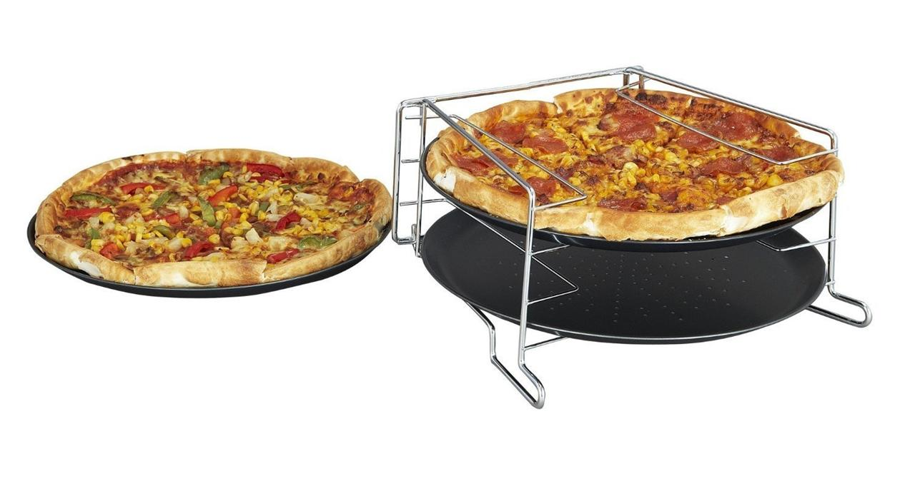 4 Piece Pizza Baking Set Serving Plate Tray Tin Oven Grill