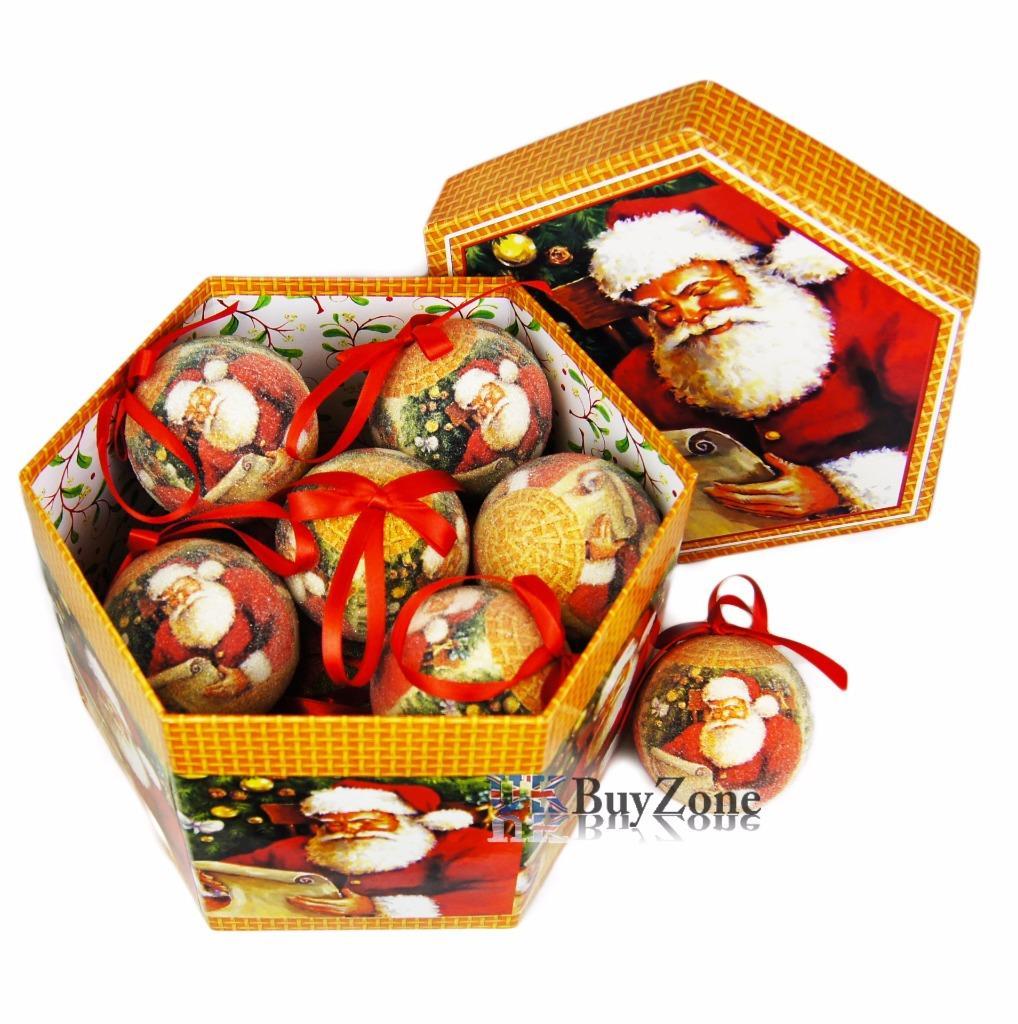 Blue Christmas Ball Ornaments Uk: Set Of 14 Traditional Decoupage Christmas Baubles Balls