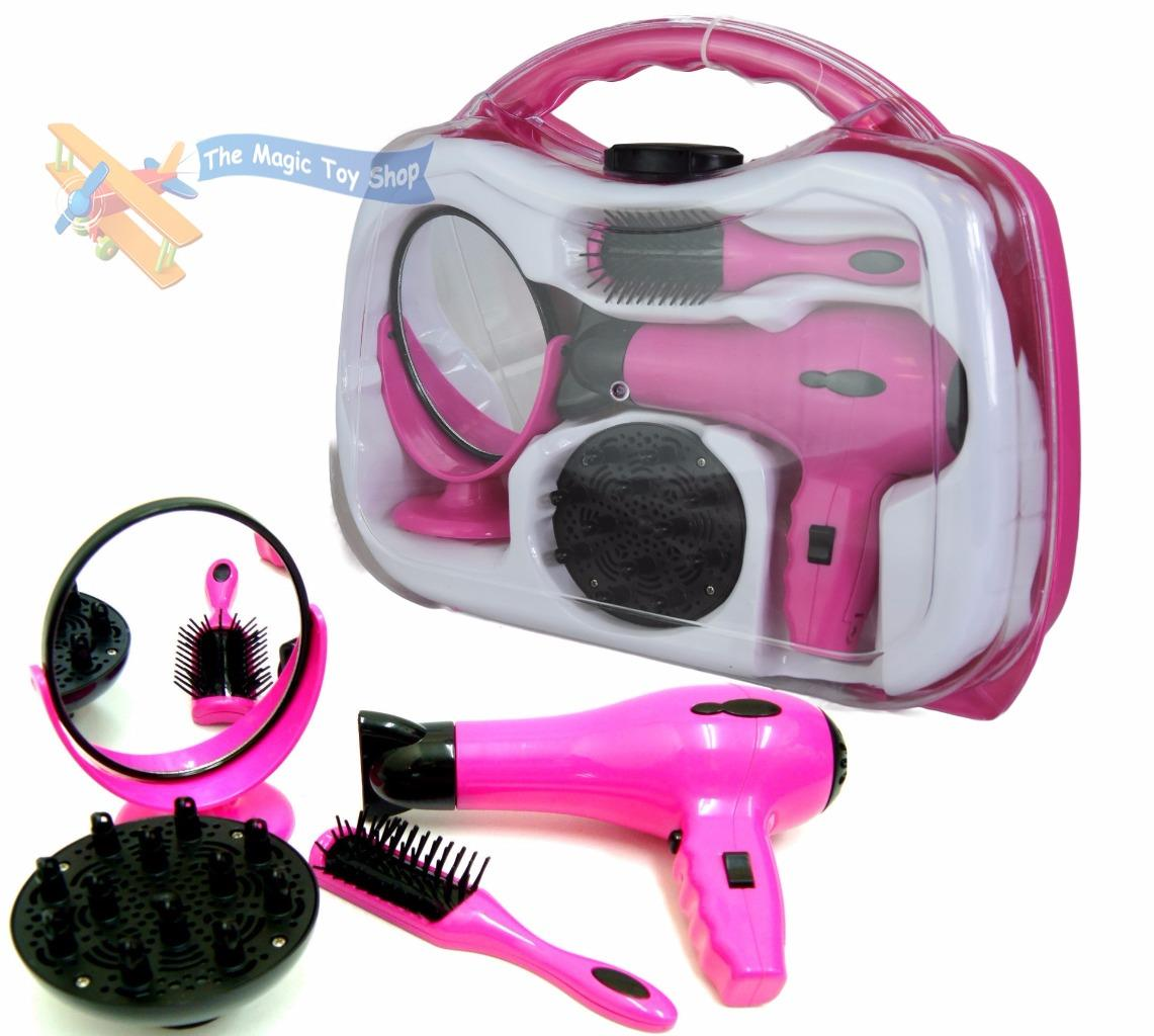 Battery Operated Girls Hair Dryer Toy Play Set In Carry