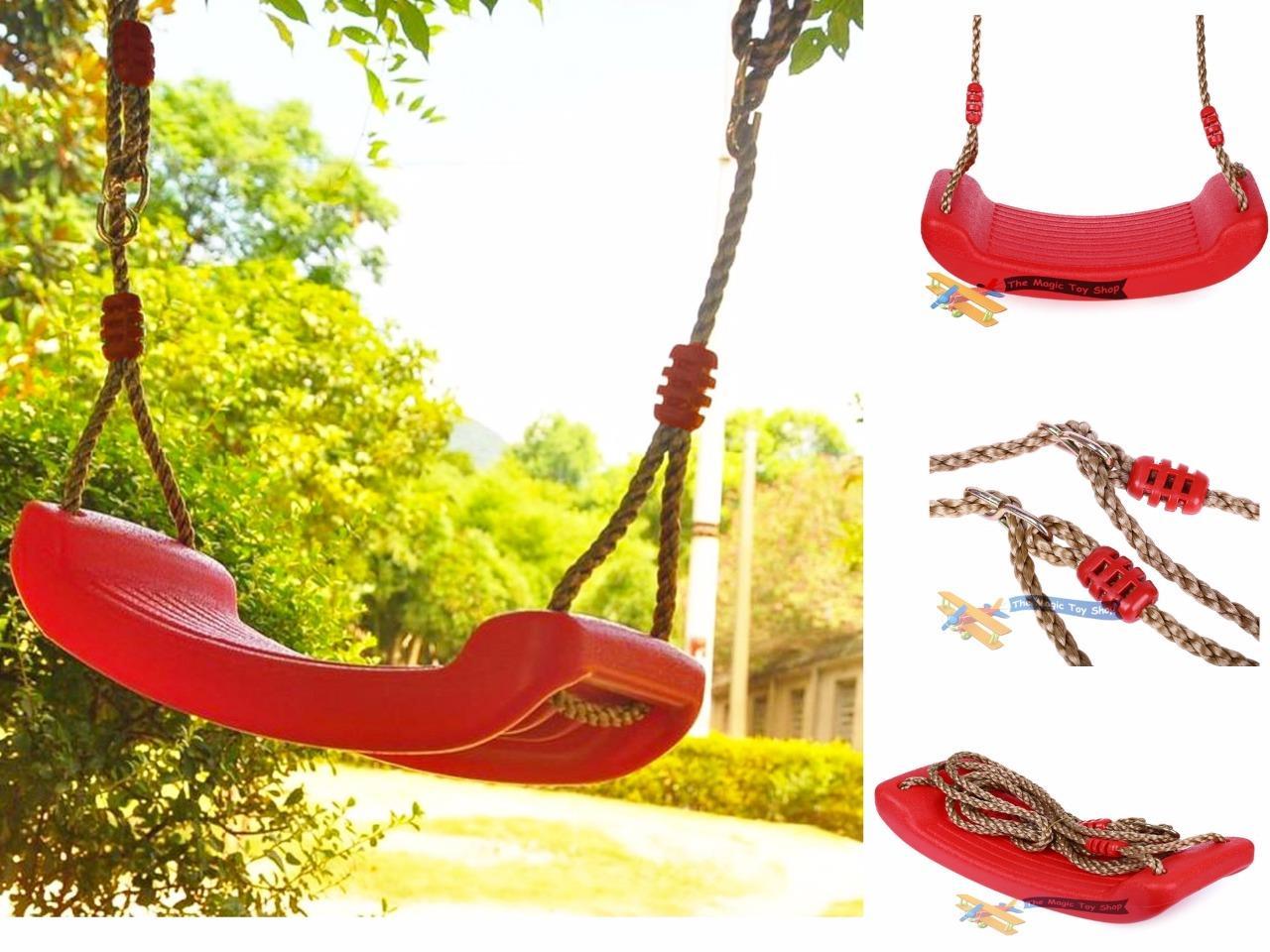 Set of Wooden Monkey Bar Trapeze Rope Swing /& Plastic Swing Seat Garden Toy