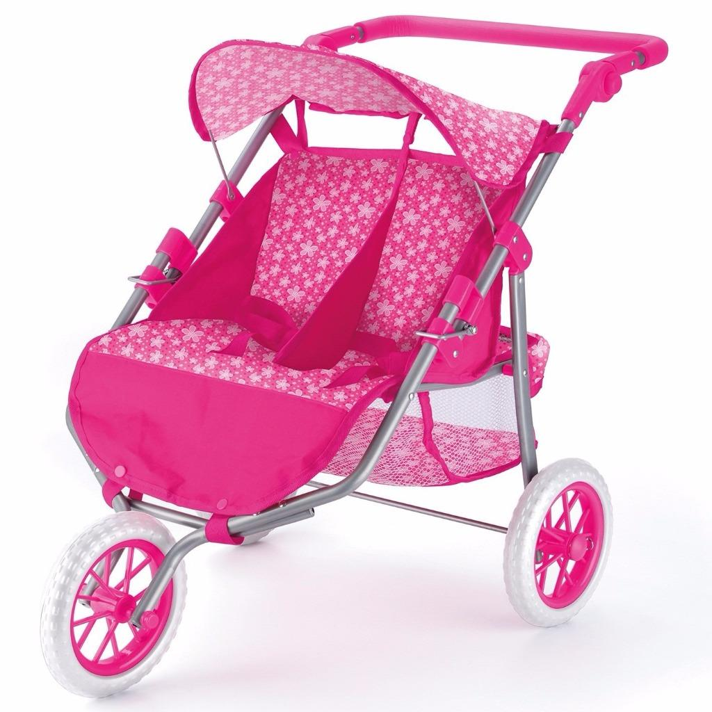 Dolls Range Twin Pram Stroller 3 Wheeler 4 Wheel Buggy