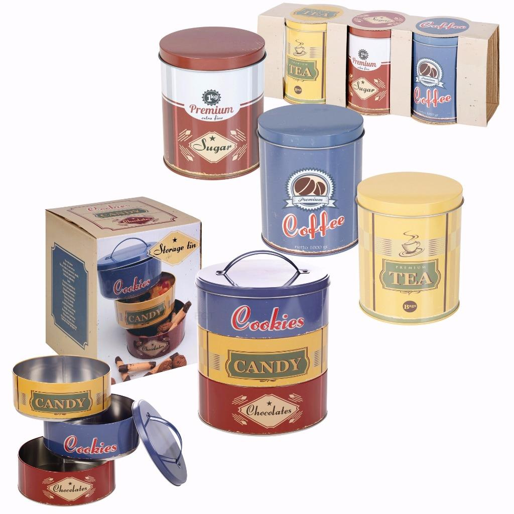 vintage storage tins kitchen set of metal cookie biscuits tea coffee sugar canister tin 6868