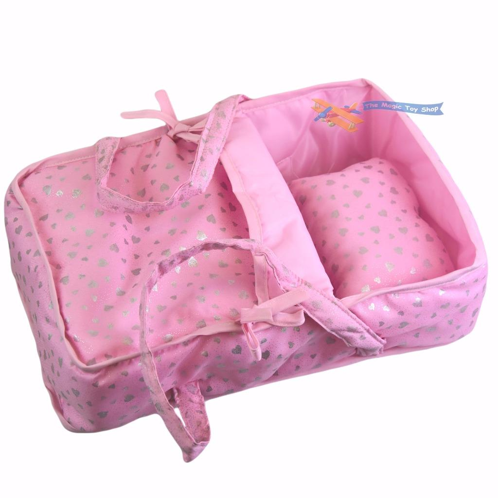 Pink Baby Dolls Hearts Cot Bed With Pillow Carry Handles