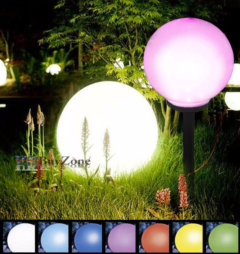 jumbo giant colour changing led solar garden mood ball sphere globe stake light ebay. Black Bedroom Furniture Sets. Home Design Ideas