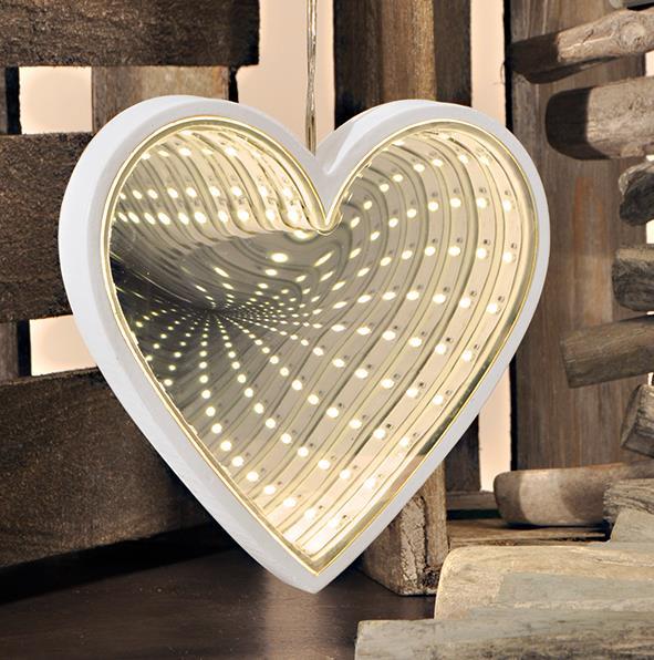 24 warm wei led lampen unendlichkeit herzf rmig spiegel for Spiegel 3d effekt