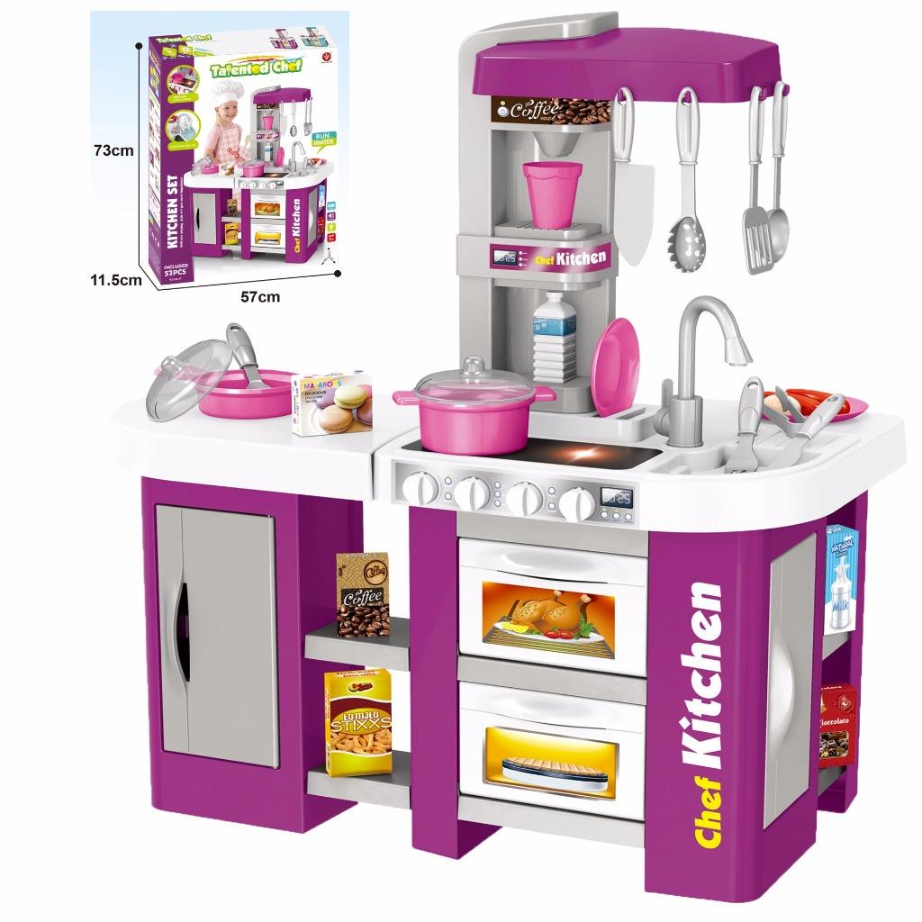 Electronic Kitchen Set: Childs Electronic Pretend Toy Kitchen Role Play Set Lights