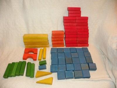 Vtg Playskool Blocks Bag Colorful Wooden 75 Blocks