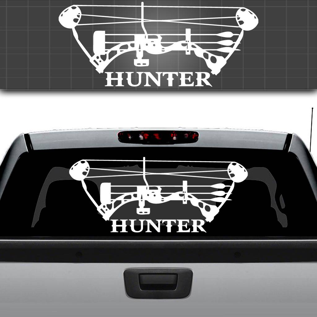 WHITE Vinyl Decal Lifes a game hunting serious hunt country truck sticker bow