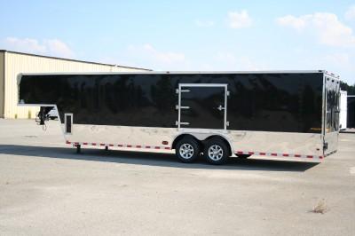 5x32 ENCLOSED CARGO AUTO CAR HAULER RACE TRAILER GOOSENECK BLACK