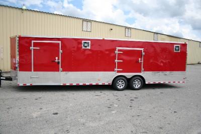5x28 Red Enclosed Cargo Auto Hauler Race Car Trailer 5200 Generator