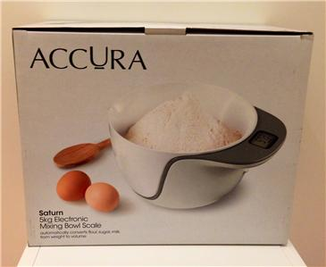 RRP $79.95 NOW $39.95 ACCURA Saturn Electronic Mixing Bowl Scale 5kg WHITE