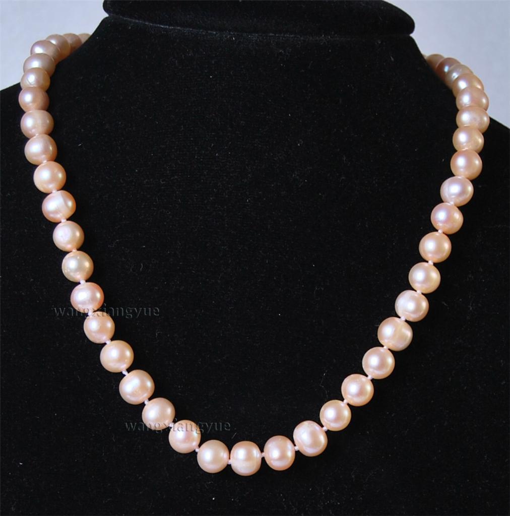 """Pearl Necklace Akoya: Long 25"""" 8-9MM Real Natural Pink Akoya Cultured Pearl"""