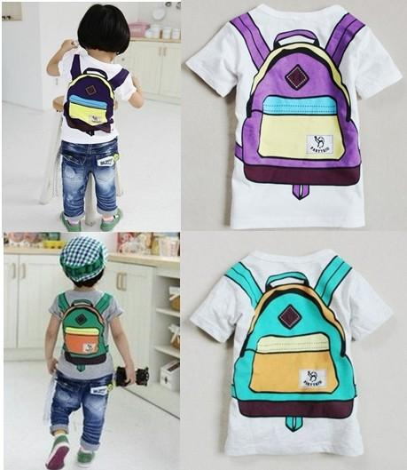 "Baby Girls Boys T Shirts Kids Boys Girls T Shirt ""School Bag ""Size 2 8T T2"