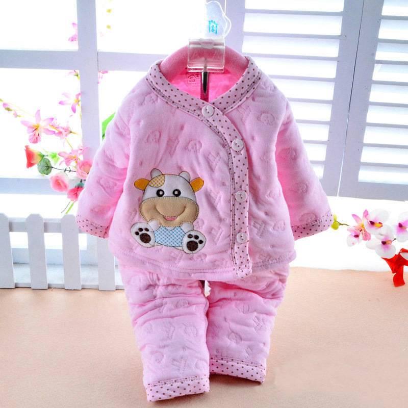 f39273b60ea3 cotton warm 2 pcs Newborn Baby Clothes Girls Boys Winter Outfits ...