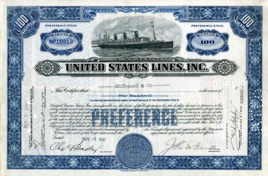 Stock Certificate United States Lines,Inc